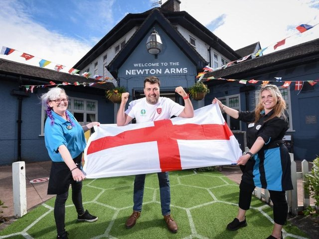 Sharon Watkins, Aaron Johnson, and Toni Travis at The Newton Arms pub ahead of England's clash with Scotland at Euro 2020 on Friday, June 18, 2021 (Picture: Dan Martino for The Gazette)