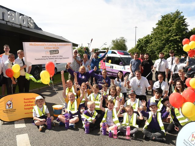 McDonald's staff and children from Ashton Primary School