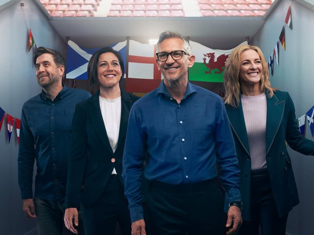 From left, Mark Chapman, Eilidh Barbour, Gary Lineker and Gabby Logan are among the BBC team for the channel's coverage of the Euro 2020 tournament