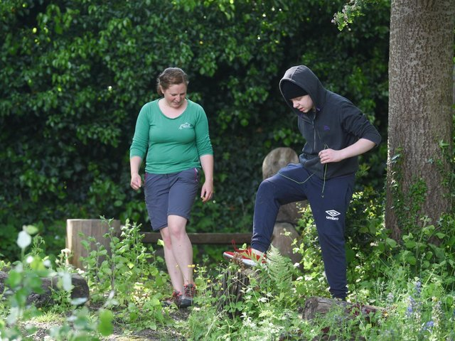 Young Carers take part in outdoor activities at Blackpool Carers Centre. Pictured is James Salkeld, 14 with Jenna Benson from Roots to Branches