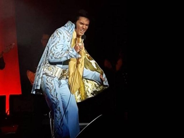 Chris Connor on stage as Elvis