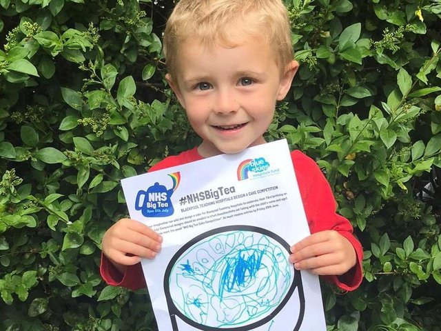 One of Blue Skies' fundraisers George Lonsdale, four, with his birthday cake design ahead of the NHS' 73rd birthday celebrations.