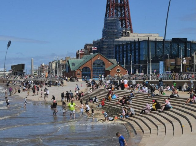 Tourists enjoying the seafront at Blackpool on June 12, 2021 (Picture: Neil Cross)
