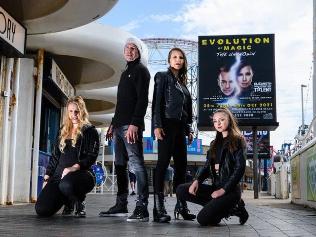 Coco Frankitt, Craig Christian, Elizabeth Best and Scarlet Butler from Evolution of Magic at Blackpool Pleasure Beach