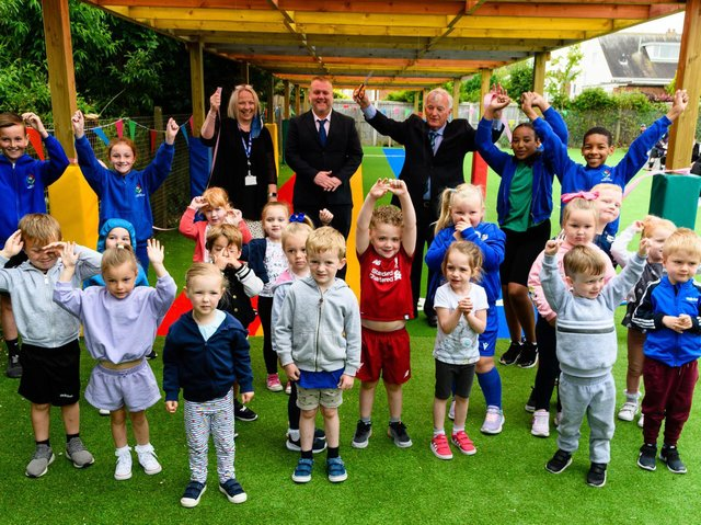Bispham councillors Don Clapham and Paul Wilshaw open Westcliff Primary Academy's new running track, which they donated to the school with £20,000 of ward grant money. Pic: Kelvin Stuttard/JPI Media