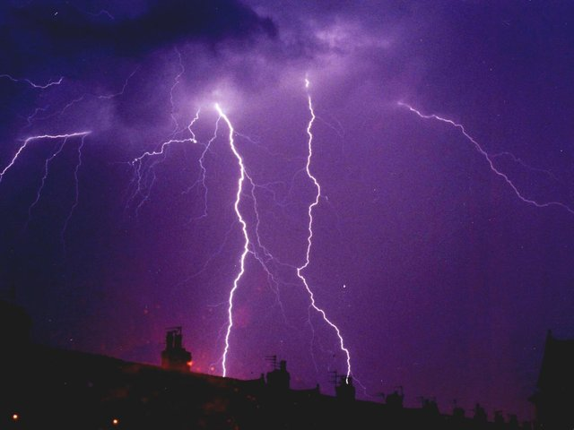 Lightning strikes of up to five-million volts struck the county