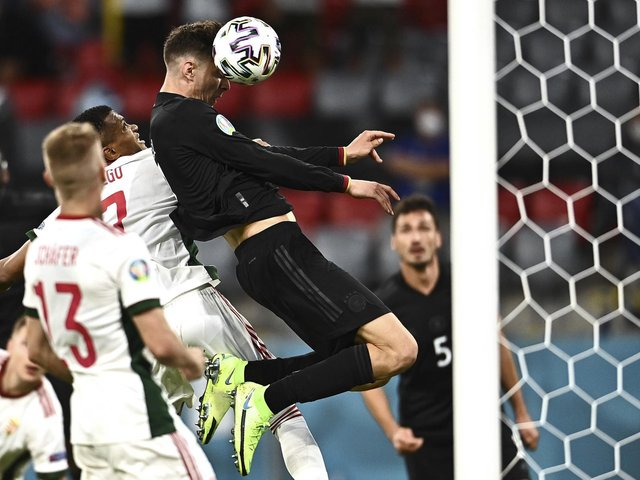Kai Havertz of Chelsea scores Germany's first goal in the draw with Hungary which secured their Euro 2020 date with England next week