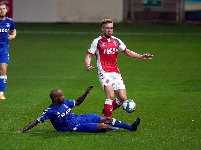 Callum Camps in action against Everton in last season's Carabao Cup.
