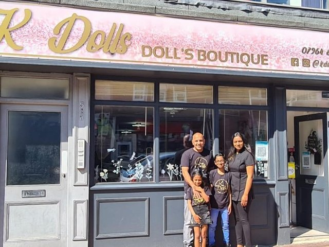 Desiree Khan with husband Shabas and children Riley and Keira at the new family business K Dolls Boutique in Blackpool