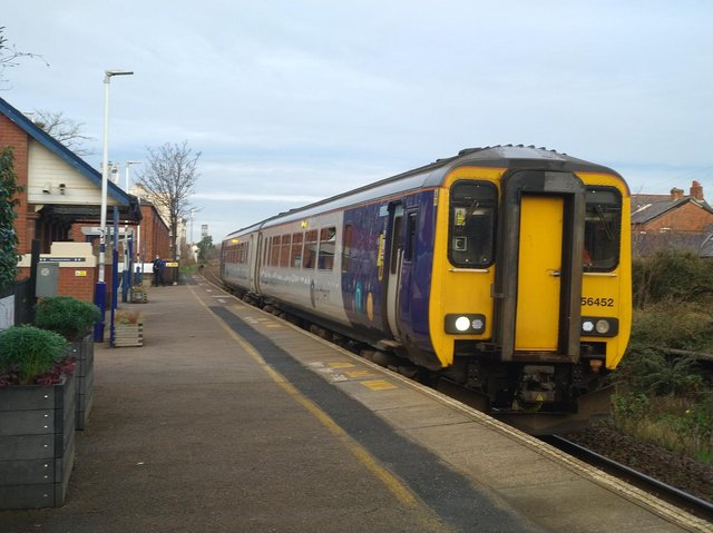 A Preston-bound train at St Annes station on the South Fylde Line