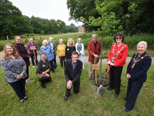Fylde mayor Elaine Silverwood and mayoress Liz Oades with representatives of the Soroptimists and Lytham Hall at the planting ceremony