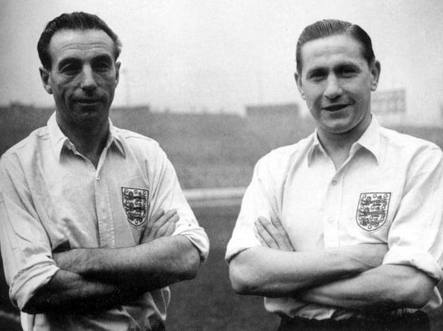 Stanley Matthews with fellow Blackpool legend Stan Mortensen in October 1953