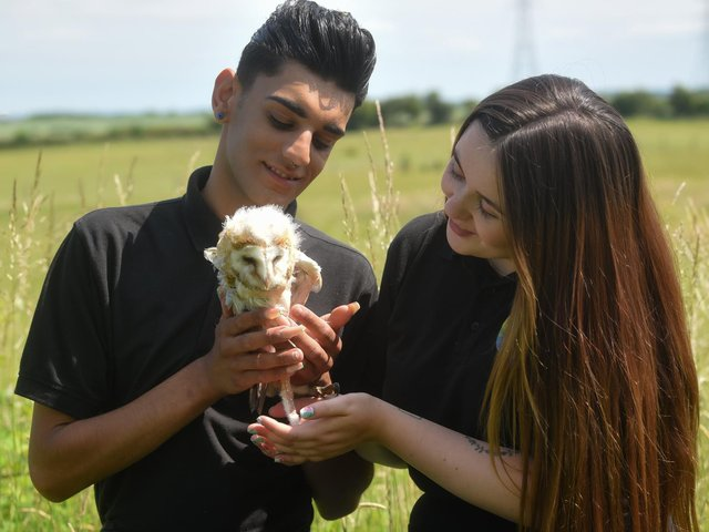 Bailey Lister and Georgia Southern from Hugo's Small Animal Rescue and Sanctuary are hoping to raise enough money for Frankie the barn owl to have an operation to fix his wing. Picture: Dan Martino/JPI Media