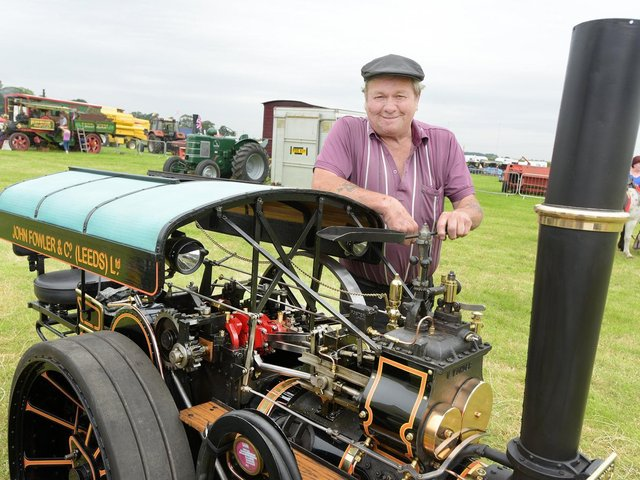 David Whalley of Freckleton and his Fowler engine at the Fylde Vintage and Farm Show 2019