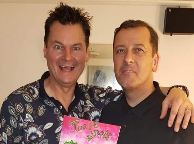 Phil Walker (left) with illustrator Tim Stead at the launch of the first book about The Snots