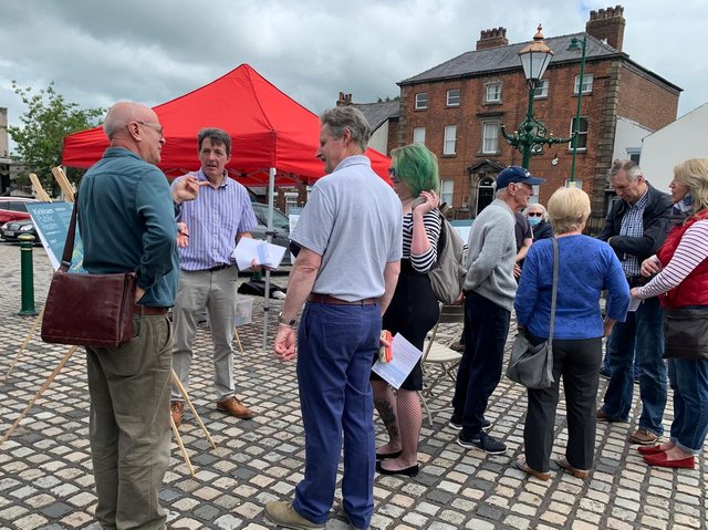 Residents look over the proposals for Kirkham