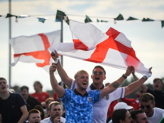 Fylde Coast football fans watch the England v Germany Euro 2020 match at Poolfoot Farm