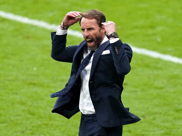 Gareth Southgate celebrates England's first victory over a German side in the knockout stages of a major tournament since the World Cup final of 1966