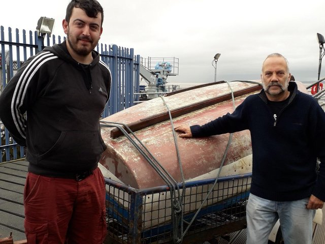Phil Smith and James Walker after the vessel was rescued