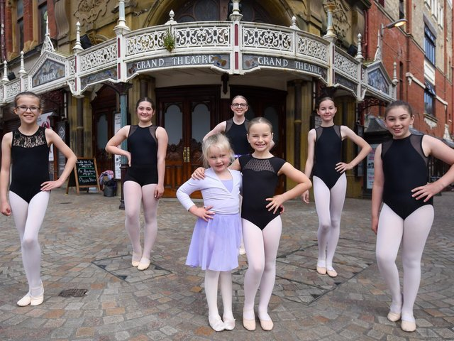Beauty and the Beast children's pantomime is back at tthe Grand Theatre in January 2022. Pictured are Lily Ryan, Ashley Evans, Olivia Ingham, Isabelle Park and Amelia Payne with Scarlett Long and Rebecca Ryan at the front.