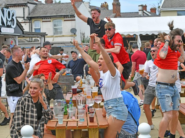 Fans celebrating at The No3 Wine & Sports Bar on Devonshire Road last month