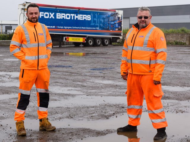 Drivers Jordan Dempsey and Keith Thirsk at the Fox Brothers' site.  The drivers there fear they will lose their jobs if the firm has to quit Blackpool aft5er losing a planning application to operate from its Squires Gate Industrial Estate site