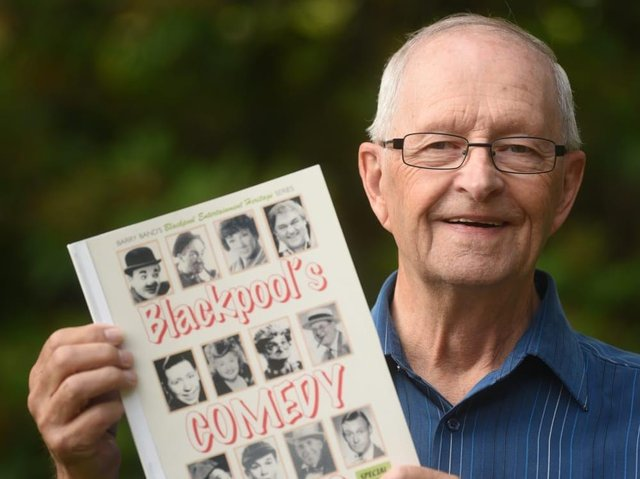 Barry Band with his book Blackpool Comedy Greats, which being offered as a prize for your showbiz tales
