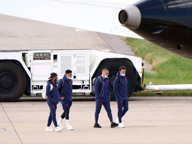 England's (from left) Raheem Sterling, Jadon Sancho, Luke Shaw and Ben Chilwell at Birmingham Airport before flying out to Rome
