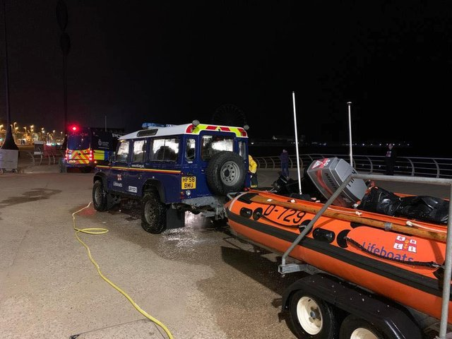 RNLI volunteers and the Lytham Coastguard were on the scene this morning. Pic by RNLI Blackpool