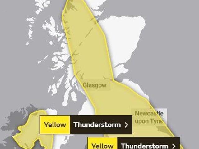 Yellow warning of thunderstorms