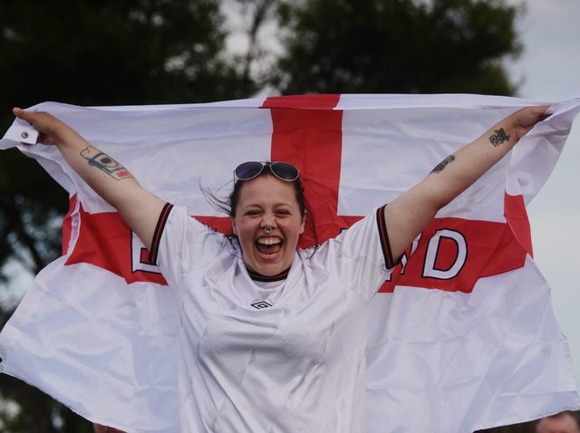 Hannah Hill, from London, getting ready to enjoy England v Ukraine at the Newton Arms pub in Norcross on Saturday, July 3, 2021 (Picture: Dan Martino for The Gazette)