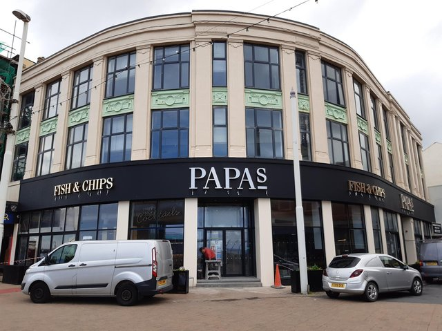 The new Papas Fish and Chips restaurant on the corner of Church Street on the Promenade