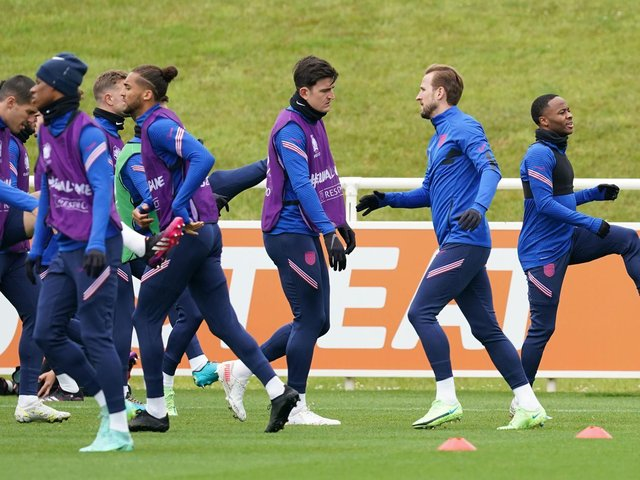 England had their final training session at St George's Park on Tuesday before heading south for Wednesday's Euro 2020 semi-final at Wembley