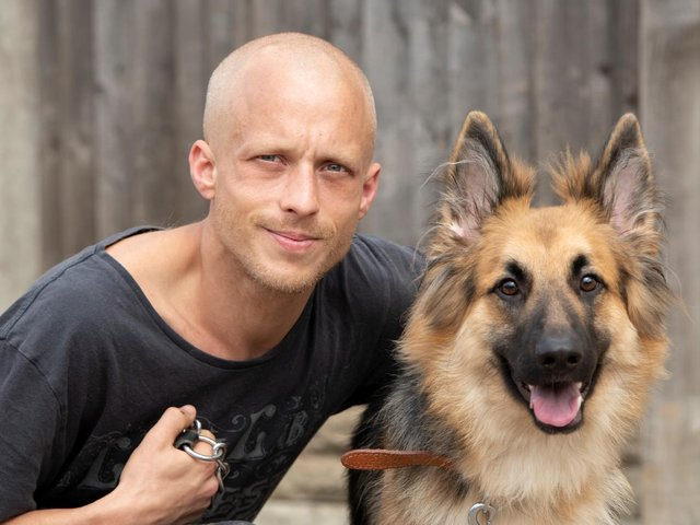 Joseph Turpin with his German Shepherd Narla, who was treated by PDSA vets after eating 500g of chocolate with raisins