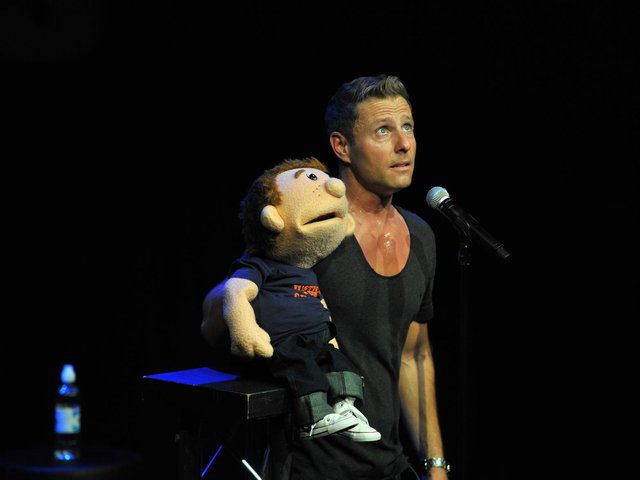 Ventriloquist Paul Zerdin with puppet Sam. He returns to Blackpool Pleasure Beach for six weeks of shows on July 16