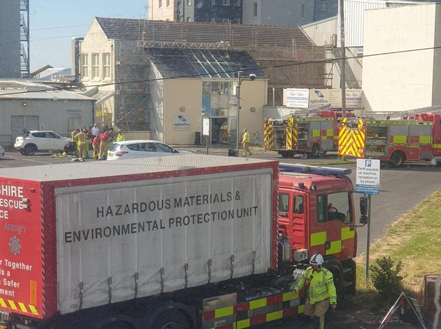 Three fire engines from Blackpool, Bispham, and Fleetwood - as well as a hazardous materials unit from South Shore - attended the incident. (Photo by Kayleigh Armer)