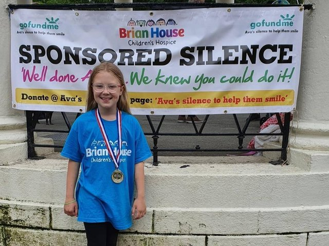 Ava Miller has smashed her initial target of 100 by over 1000 after staying silent for the day to raise money for Brian House. Picture: Kathryn Miller