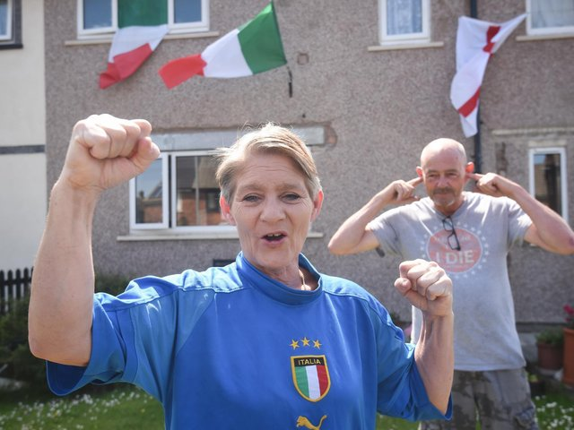 Marianna Mitchell supports Italy while husband Steve Mitchell supports England