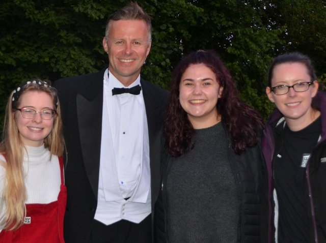 Actor Tom Lister wih volunteers helpers Lizzie Daly, Charlotte Mellors and Helen Booth