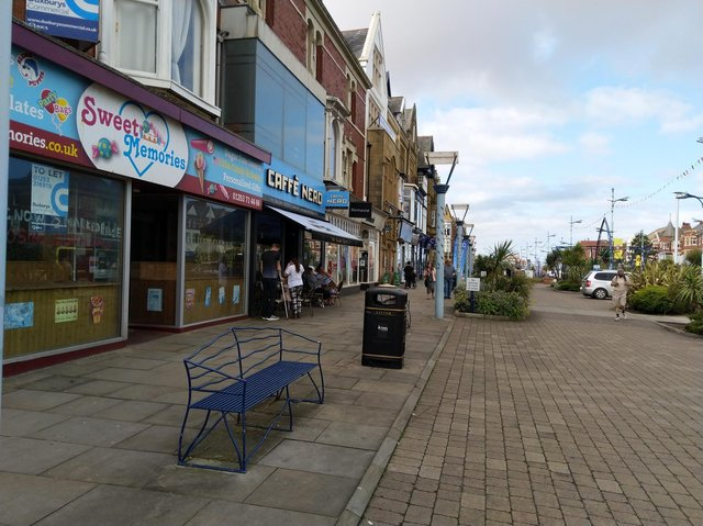 A woman in her 40s has suffered a serious head injury after she was attacked outside Cafe Nero in St Annes Road West, St Annes on June 27. Pic: Google