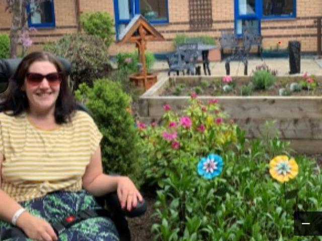 Jess Cook in the sensory garden at Royal Preston Hospital