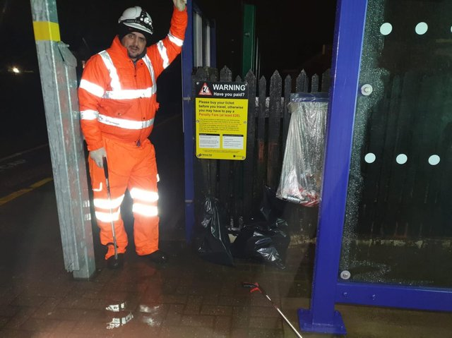 Network Rail worker after litter pick around Blackpool