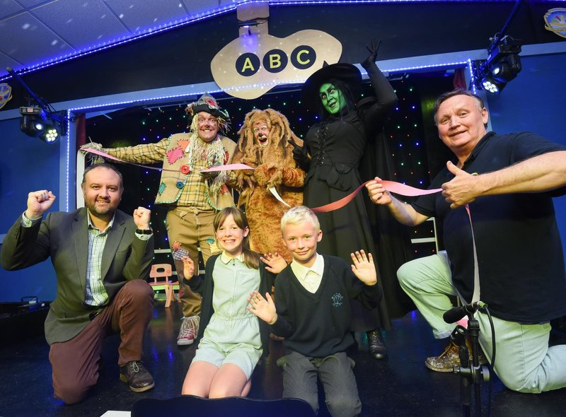 The cast from North Pier's The Wizard of Oz help open the new theatre at Mayfield Primary.  They are pictured with headteacher Glyn Denton, North Pier Theatre manager Denis Askham and pupils Kadie Hayes and Alex Lloyd.