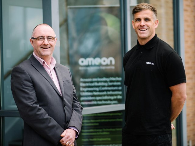 Ameon principal contract manager, Dave Scott, left, with new electrical apprentice, Rob Parker