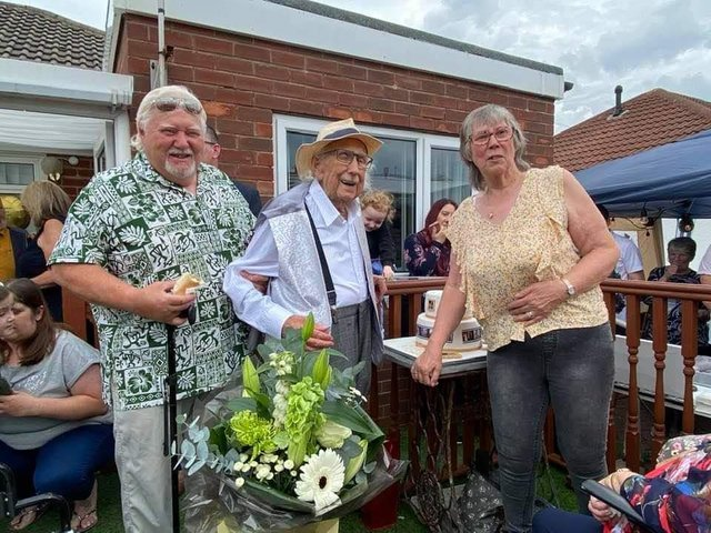 William Broadley with son, Wayne Broadley and daughter Lynn Moore at home celebrating his 100th birthday