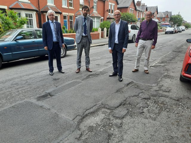 County Coun Charlie Edwards (second left) at Rossall Road with (from left) Mark Menzies MP, County Coun Tim Ashton and Fylde Ansdell ward councillor Richard Redcliffe.