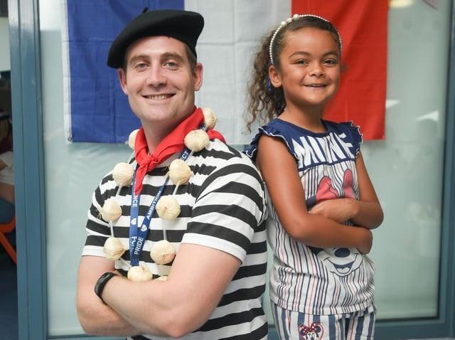 Year five teacher and languages lead David Snelling with Malaya Anson. Pic: Daniel Martino/JPI Media
