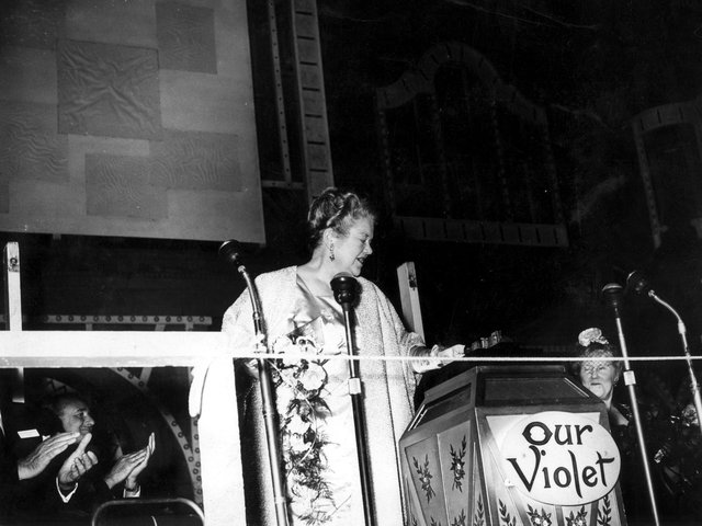 Violet Carson , who played Ena Sharples in Coronation Street, flicks the switch to light up Blackpool in 1961