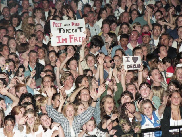 It was music that bridged the generations as The Bees Gees, teen heart-throbs PJ and Duncan and former EastEnder turned pop idol Sean Maguire provided the tunes and switched on Blackpool Illuminations. These teen fans were waiting for a glimpse of PJ and Duncan